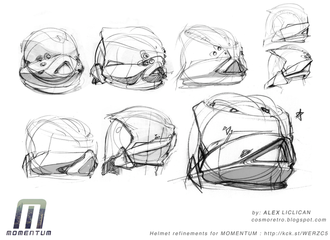 Helmet sketches by Alex Liclican