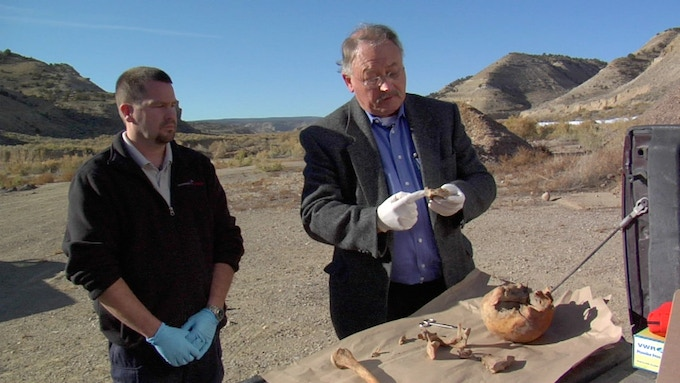 Forensic guys doin what they do at the Duchesne Utah cemetery. Yes you are lookin at the remains of The Sundance Kid!
