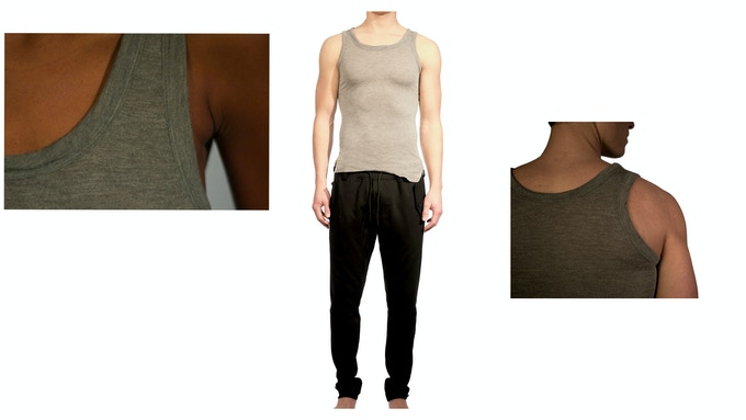 Man's Featherweight Cashmere/Modal tank $75 + Lean futuristic tailored knit trouser $99