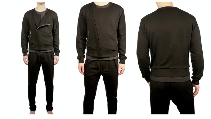 Men's Urban Bomber Jacket - $125 shown with the Lean Futuristic Tailored Knit Trouser $99