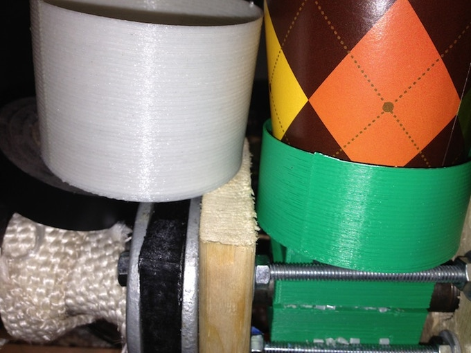 Comparison of print quality between the Filastruder Filament (left) and Solidoodle FIlament (right)