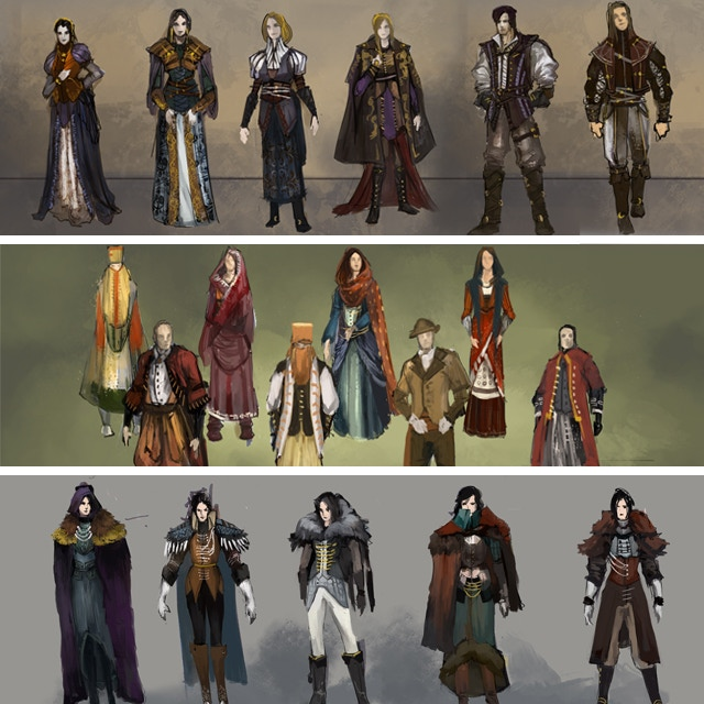 Each faction has its own style and culture. Clothing concepts from the Mercantile Guild, Order of Chaladon, and Fjord Baronies.