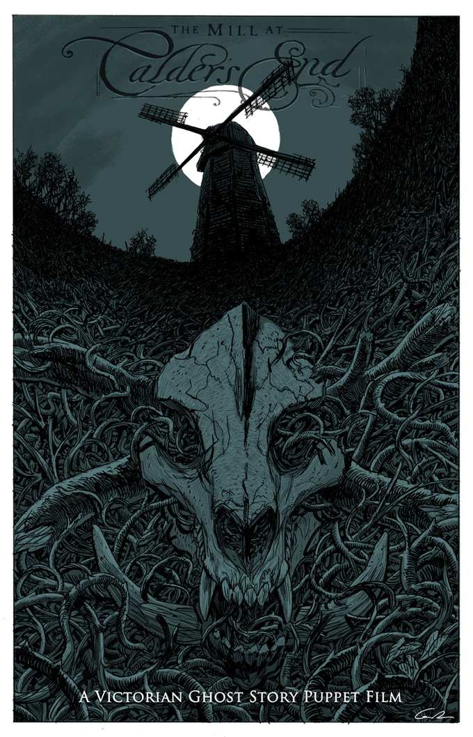 """CARD #2 - """"The Mill at Calder's End"""" illustrated by concept artist Guy Davis.(5"""" X 7"""" Card)"""