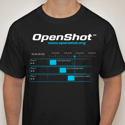 A preliminary design of the OpenShot T-Shirt reward, offered to some reward levels.
