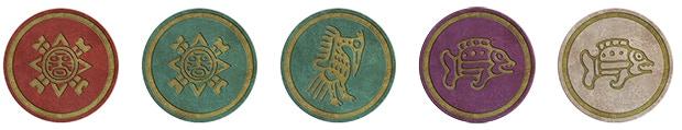 Five Relics: Ruby Sun, Jade Sun, Jade Bird, Sapphire Fish, Silver Fish