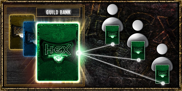 Share cards with your guild via the guild bank
