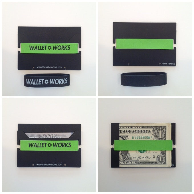 The top two photos show the front and back of the wallet without any credit cards or cash in it, while the bottom two photos show the wallet in use.