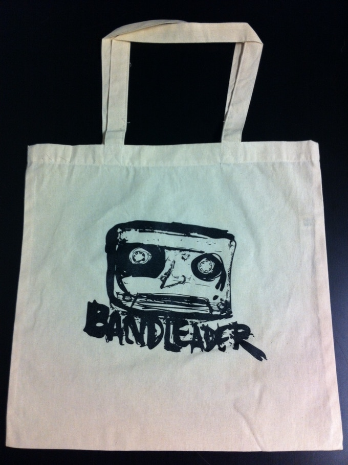 Screen printed canvas tote bags, designed by Katherine Lika, manufactured for Bandleader by Curly and Spike