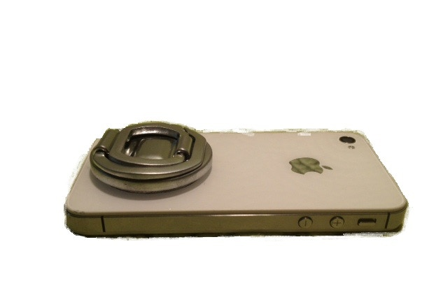 Grip N Stand in SILVER on an iPhone