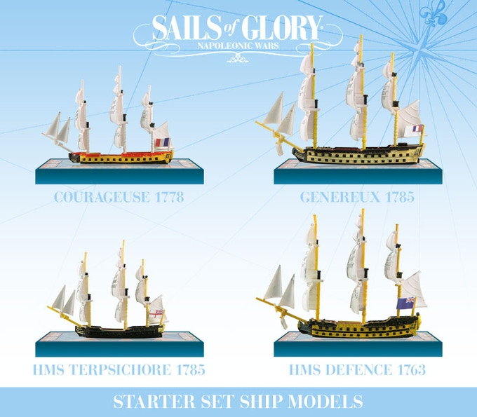 The four ships included in the Starter Set.