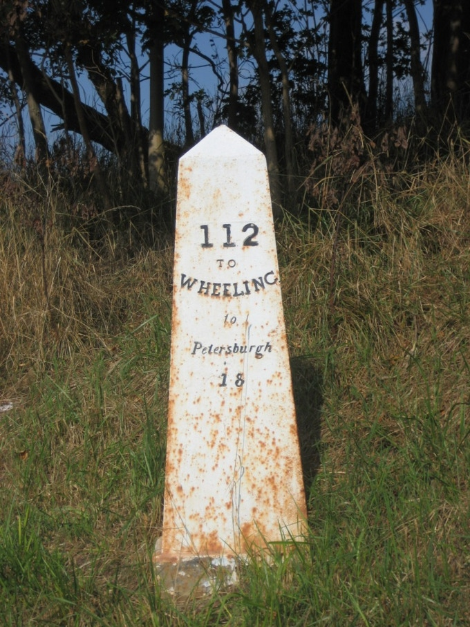 Mile marker along the historic National Road which runs through Brownsville