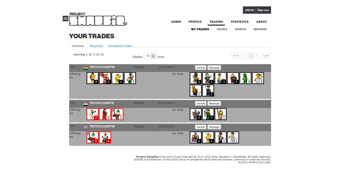 Keep track of any offers made and received, as well as ongoing trades. Because Project Swapfig has an inventory system, it will warn you when either side doesn't have enough of a certain figure.