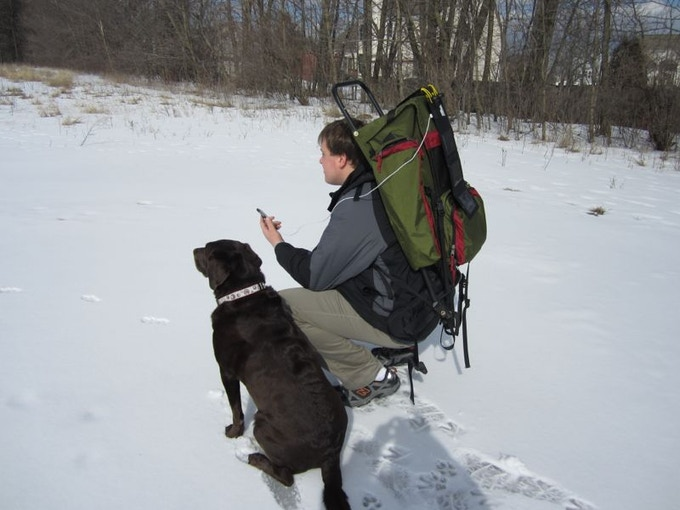 When hiking with a dog...
