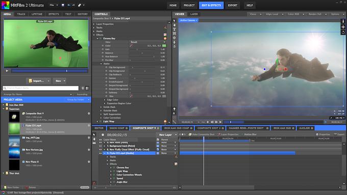 Compositing a green screen shot.