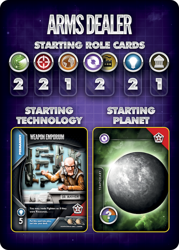 """Arms dealer scenario card. Planet named """"temporary"""" because you can name it through this Kickstarter project."""