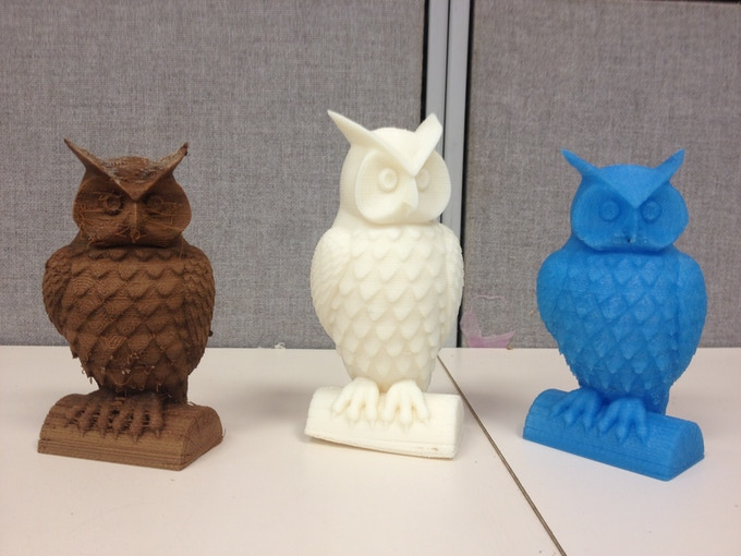 Owl Printed in Wood - ABS - PLA