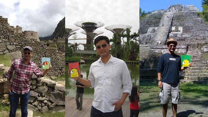 Bren Bataclan giving away paintings in Peru, Singapore and Belize.
