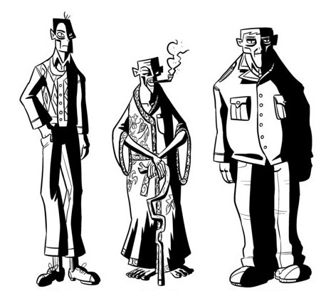 Early character designs for ERAS: Fung