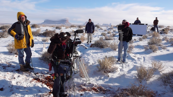 Boss Jon Davison and team, on the set of Searchers 2.0