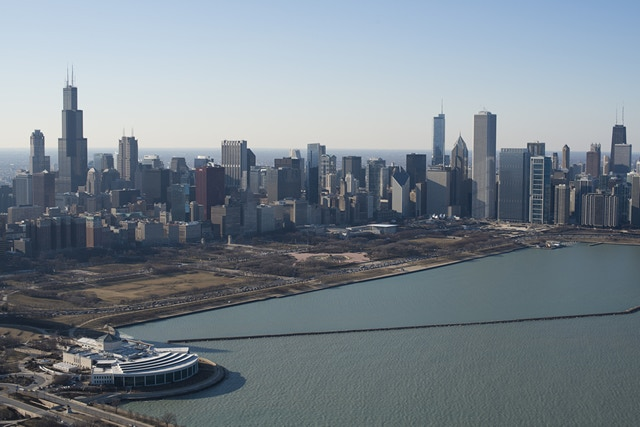 Northwestern view of the Chicago skyline taken just Southeast of the Shedd Aquarium
