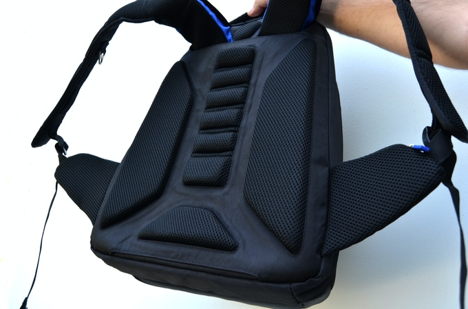 Close up of the back padding which is 50% more than most backpacks