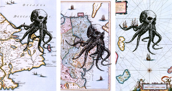 Octoskull prints by Chris O'Neal, on original maps! Being offered as part of our incentives!
