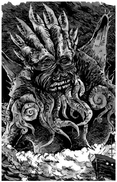 Sam Heimer will be offering the original ink drawing of his Cthulhu piece as an incentive!