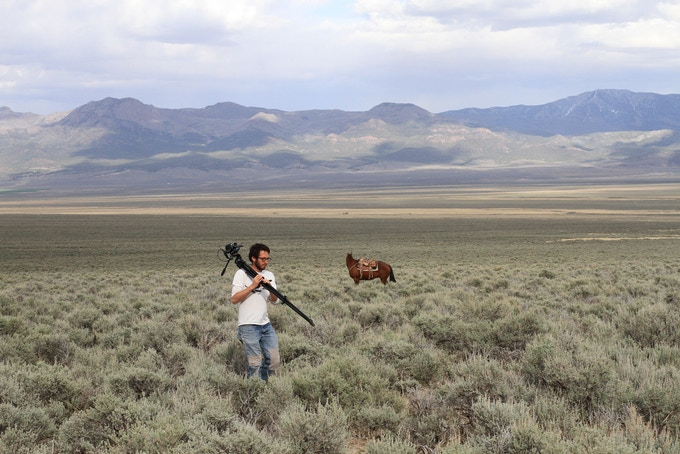Matt filming Greater Sage-Grouse in Nevada.