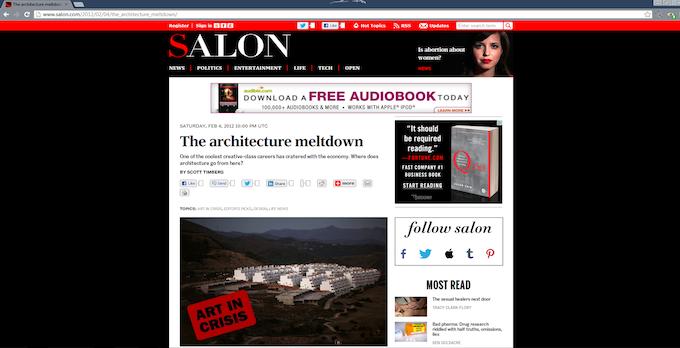 "Screen shot of Scott Timberg's ""Architectureal Meltdown"""