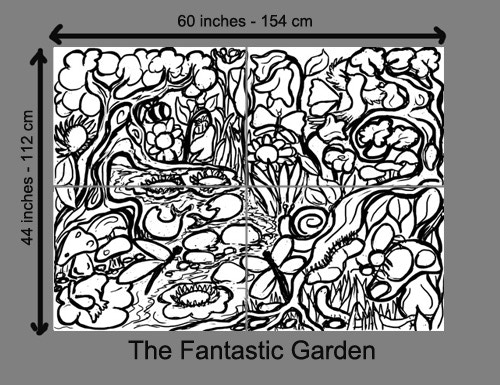 Original woodcut Fantastic Garden, a marvelous puzzle print in the making