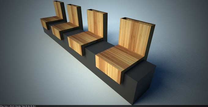 Visualization of concrete and reclaimed timber furniture.