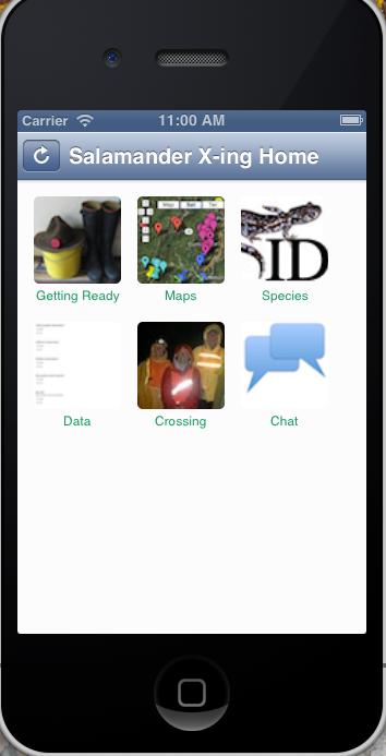 Salamander App for volunteers to use during spring migration
