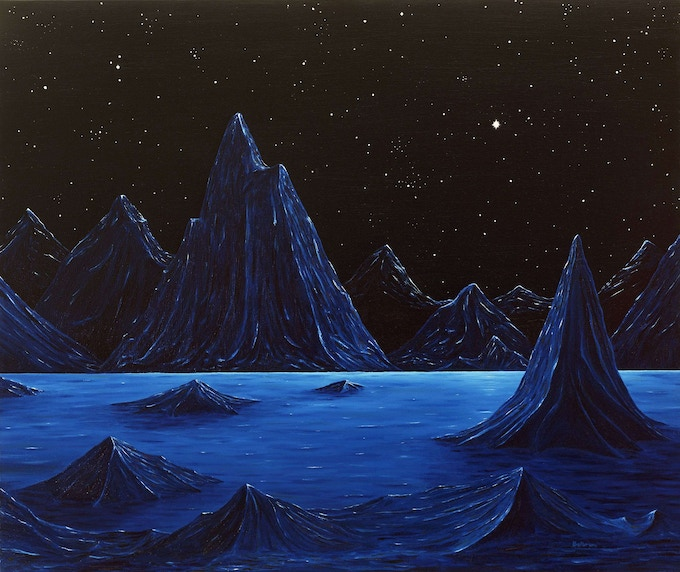 """Ed Belbruno's """"Mountains at Night"""" 22 x 24 inches, oil on canvas, 1984."""