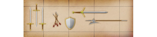 Longswords, shields, arrows, polearms, and executioner swords: these are just a few of the dozens of equipment graphics that will be available.