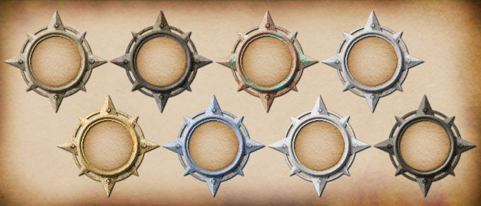 The compass rose epic rings can be placed on your 1x1 tokens (the color of the parchment and icon will be unaffected). These are a Kickstarter exclusive reward.