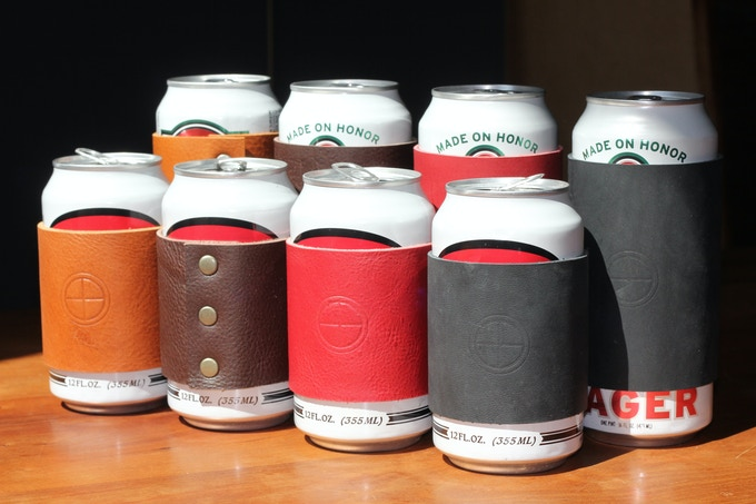 12 oz. and 16 oz. Beer can cozies in order of color: Hemlock, Stout, Apple and Coal