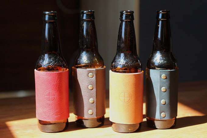 Beer bottle cozies in order of color: Apple, Stout, Hemlock and Coal