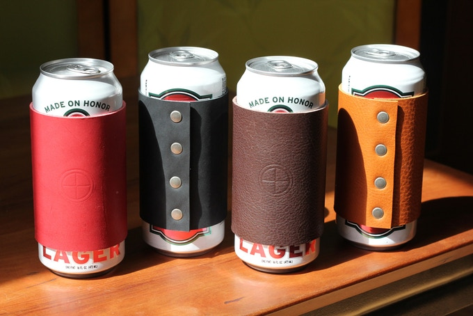16 oz. Beer can cozies in order of color: Apple, Coal, Stout and Hemlock