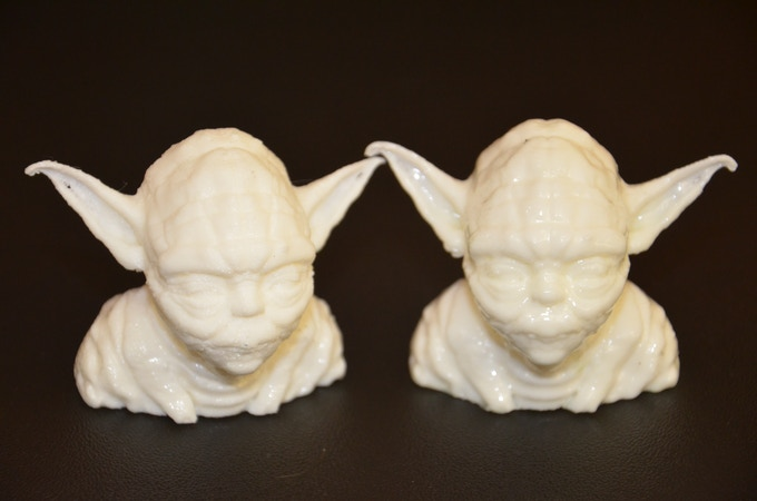 fast print, PLA - low resolution: (left) normal - (right) 3DRefiner for 15 min w/ MEK