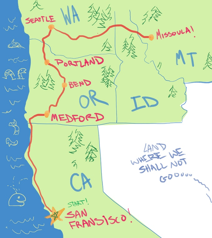 The tour starts in San Fransisco! Rosa and Nick will travel through California, Oregon, Seattle, and Idaho until they reach Missoula, MT. There, Leila will join them on their adventure!