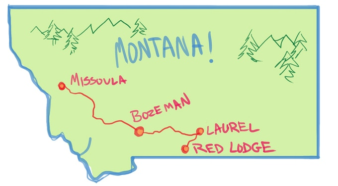 The trio will then perform across Montana. At Red Lodge, Leila will leave the group and return to Missoula while Rosa and Nick trek on!