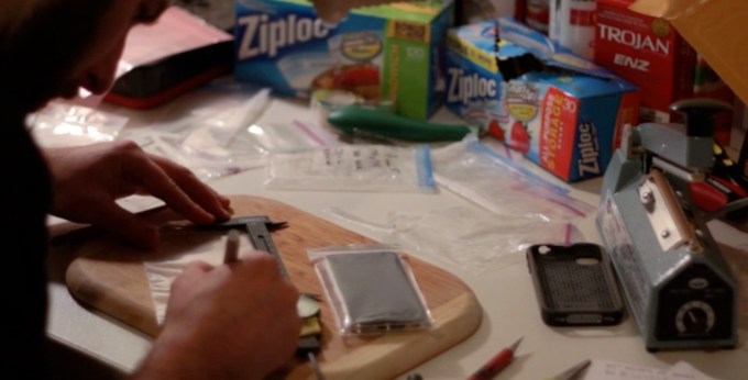 Making Smart Bags by hand in the lab.