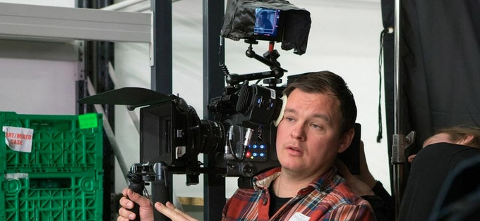 DOP Oliver Russell on set of NINA FOREVER