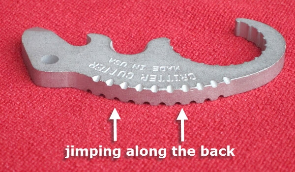 Jimping is a decorative technique that also provides a better grip