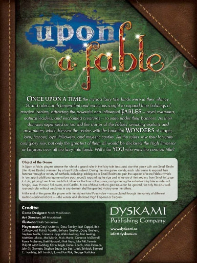 Click to download a complete PDF draft of the Upon a Fable rulebook!
