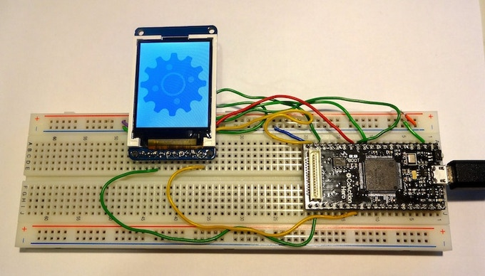 "CoAction Hero driving a 1.8"" Color LCD using SPI"