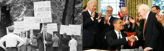 Picketers at the White House in 1965 (left); Frank Kameny being honored by President Obama for his lifetime commitment to the fight for LGBT rights.