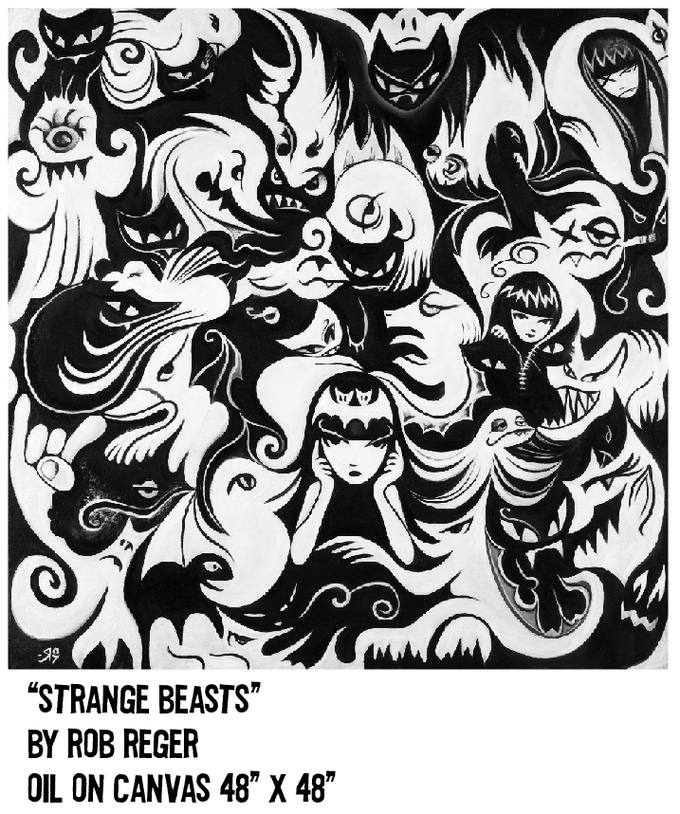 """$5,000 REWARD (this oil painting is featured on the cover of """"The Art of Emily the Strange"""" and was the title piece for Emily's 13th anniversary art show """"Strange Beasts"""". Now it can be yours!"""