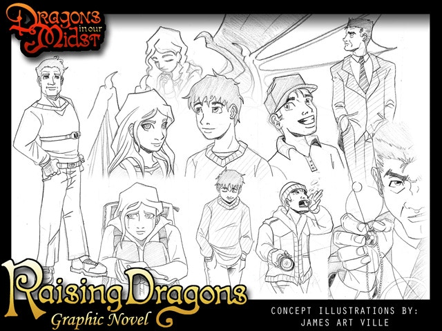 Early concept art featuring various character designs.