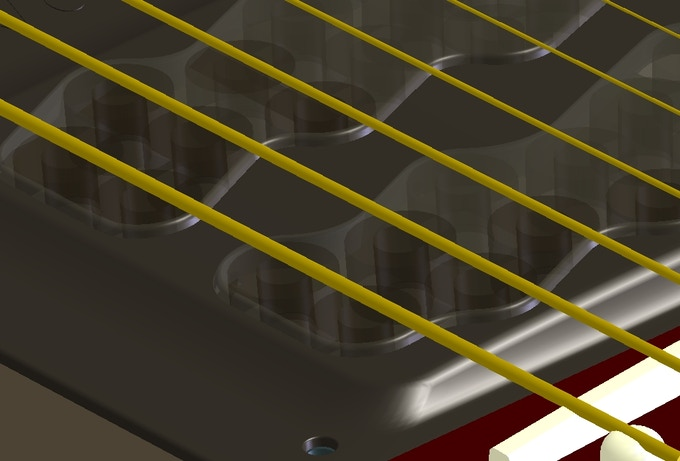 CAD Detail of the latest design of the Vo-96 transducer on a guitar.